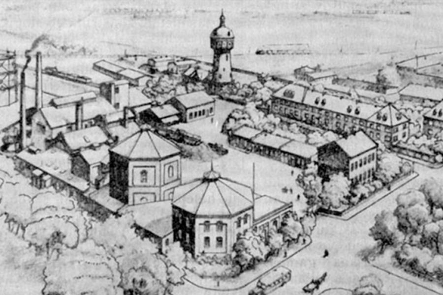 Taip dujų fabriko kompleksas atrodė 20 amžiaus pradžios graviūroje